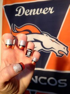 Denver Broncos Nails