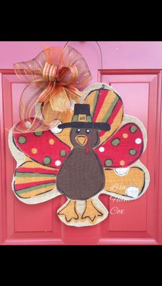 Burlap Thanksgiving Turkey Door Hanger with Bow