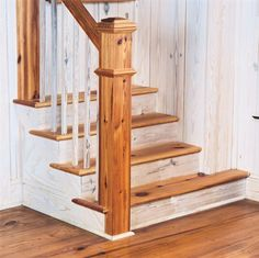 """Featuring our heart of pine newel, whitewashed wooden walls are made from 8"""" wide plank flooring. - Floors are 12"""" wide plank flooring.   """"Authenticpinefloors.com"""""""