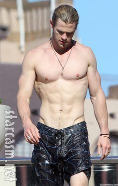 Chris Hemsworth shirtless Down Under