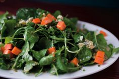 Baby Salad Greens with Sweet Potato Croutons and Stilton. Get the recipe: http://life.gaiam.com/article/healthy-eating-holidays
