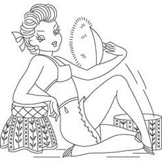pinup embroidery, embroidery patterns, embroideri pattern, redwork, pattern detail