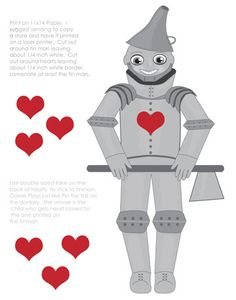 Printable Party Game , Pin the heart on the tin Man  Co ordinates with Wizard Of OZ kit,. $2.00, via Etsy.