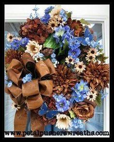 christmas wreaths, diy wreath, crafti stuff, christma decor, door decor, craft idea, floral wreaths, blue wreath, decorative doors