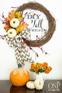 DIY Easy Fall Wreath | from On Sutton Place | this post includes the link for how to make the bow!