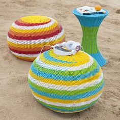 colorful pop woven tables