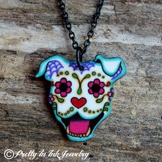 THE ORIGINAL Smiling Sugar Skull Pit Bull by PrettyInInkJewelry, $19.95.. part of the proceeds go to Villalobus the pitbull rescue from the show pitbulls and paroles!