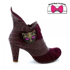 "Irregular Choice ""Miaow"" boots in plum."
