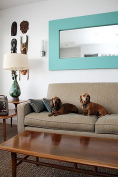 Teak coffee table, love the lamp. And of course the dogs!