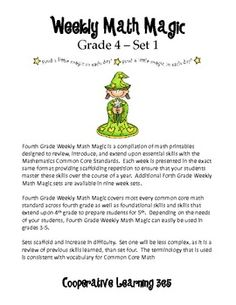 Fourth Grade Weekly Math Magic covers most every common core math standard across fourth grade as well as foundational skills and skills that extend upon 4th grade to prepare students for 5th. Depending on the needs of your students, Fourth Grade Weekly Math Magic can easily be used in grades 3-5. $