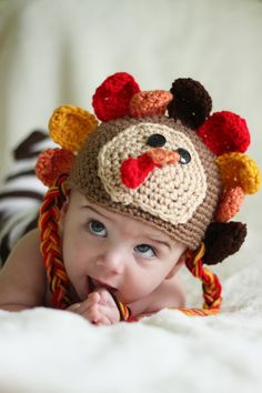 TURKEY HAT - Baby and Newborn Turkey Crochet Hat - Boy or Girl - SALE - Any size - Thanksgiving and Fall Photography Prop. $30.00, via Etsy.