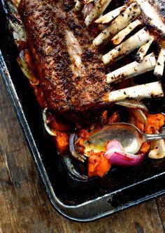 Roasted Rack of Lamb w/ Turkish Spices, Yogurt Sauce, and Rice