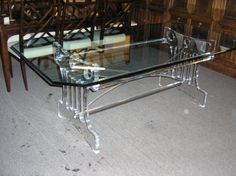 LUCITE  DINING  TABLE  BASE  1/2  X  45  X  84  BEVELED  GLASS  1499.00  5701 Richmond Ave   Houston, TX  77057     713.781.9394