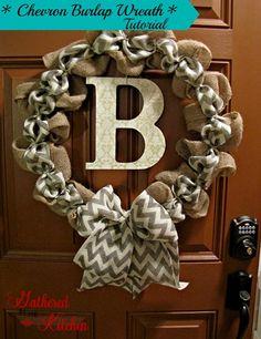 kitchens, decor, burlap kitchen ideas, burlap wreaths, craft, diy chevron wreath, diy chevron burlap wreath, hous, diy burlap wreath tutorial
