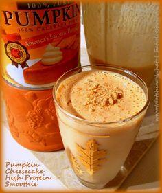 pumpkin cheesecake high protein smoothie ~ satisfy your morning pumpkin craving!