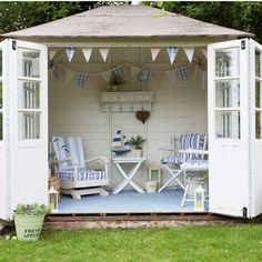 Vintage summerhouse. More at: www.myhomerocks.com/2012/05/garden-rooms-outdoor-offices/ #homeimprovement Garden Sheds, Summerhouse, The Doors, Outdoor Rooms, Summer House, Pools House, Backyards Retreat, Gardens, Outdoor Sheds
