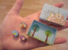tiny matchbook house, una mini escena dentro de una caja
