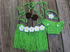 Hula Baby Photo Prop Set.  Made to Order.  3  by Acrochetaddiction, $34.00