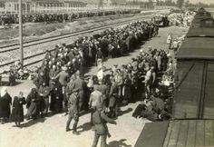 Jews arriving at the camp before undergoing the selection process. Mass scenes like this were an almost daily occurrence in the summer of 1944, when the destruction of the Jews of Hungary was at its height. In the background it is possible to see Crematorium II, to which many of the Jews were sent after selection to be killed. #Holocaust