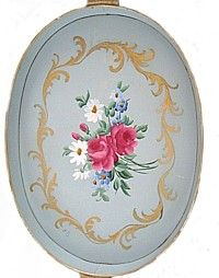 Shabby French Blue Grey Pink Rose Tole Tray