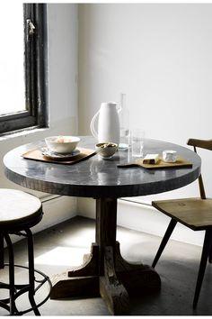 Galvanized Pedestal Table - Anthropologie.com