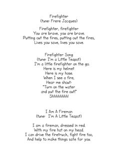 Fire safety songs.