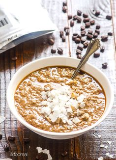 Caffe Mocha Protein Overnight Oatmeal -- 5 minutes and you have a healthy breakfast on-the-go for the next 5 days.