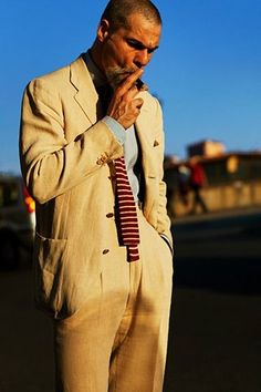 square tie and cigar