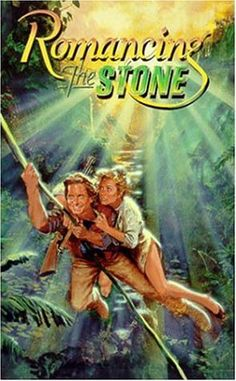 """""""Romancing the Stone"""" Directed by Robert Zemeckis, with Michael Douglas, Kathleen Turner, and Danny DeVito.  A 1984 action-adventure romantic comedy classic."""