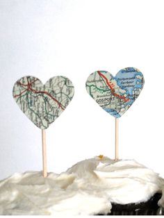 For the Cupcake Lovers - heart picks cutout from old maps