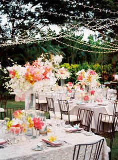 How to rig string lights over reception tables - use twine as support to drape lights over.
