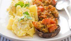 Tomato Stuffed Mushrooms with Crushed Potatoes