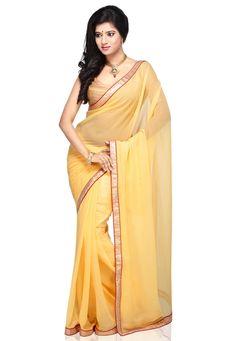 Yellow Faux Chiffon Saree with Blouse @ $46.00