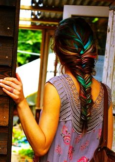 Colorful Rainbow Dip Dye Hair Chalk