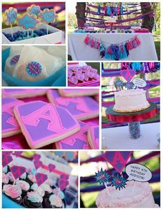 girlie superhero party-I would do it in other colors but its adorable!