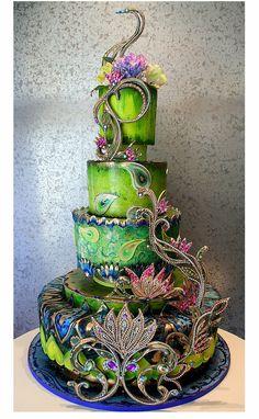 A Fabulous Peacock Inspired Wedding Cake