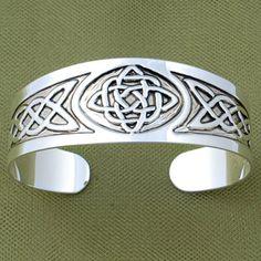 "Celtic Cuff Bracelet.    An intriguing band of interlocking Celtic knots has an antique look. 1"" wide. Adjustable. $17.99 Cuffs Bracelets, Band, Awesome Celtic, Celtic Knots, Celtic Design, Celtic Cuffs, 17 99 Cuffs, Cuff Bracelets, Antiques"