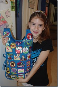 Great idea!  Pillow made with Girl Scout Daisy tunic to show off patches instead of packing away... LOVE IT!