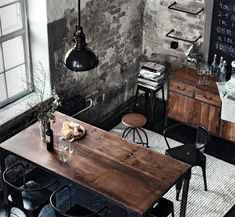Industrial feel. Neutral shades, just add a little splash of colour with kitchen accessories/appliances etc.