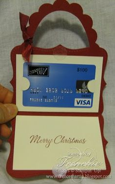 decorating ideas, credit cards, diy gifts, gift cards, hand made, note cards, cards diy, christma, gift card holders