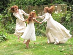 Dancing sisters - hair and dresses flying <3
