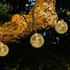 Solar Glass String Lights - Clear w/ Amber LED, Order Online from PartyLights.com!