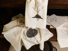 print on flour sack towels for gift wrap+.