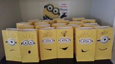 Yellow paper bag, Cut out goggles and Black Sharpie Pens to create a Minion Treat Bag!