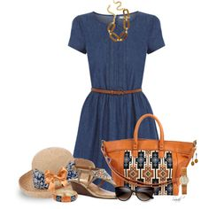 """""""Denim Dress - Orange and Blue"""" by of-simple-things on Polyvore"""