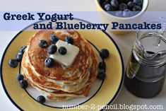 breakfast, food, protein, fun recip, pancakes, blueberri pancak, add, blueberries, greek yogurt