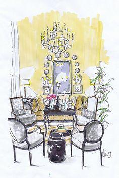 Cote de Texas-Joni's living room rendering by M Morelan Design.