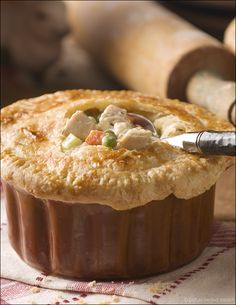 I think this is what will be for dinner tonight... chicken pot pie. Yummo.
