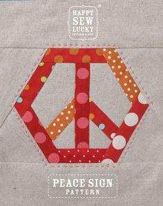 patterns, quilt block, lucki peac, sew lucki, peace signs, paper piec, happi sew, peac pattern, quilt idea