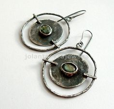 Big labradorite - silver earrings